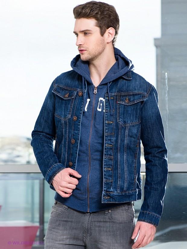 одежда из денима куртка синяя серые штаны
