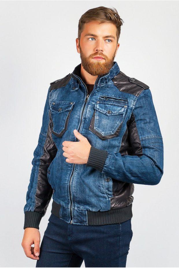 одежда из денима куртка с кожаным вставками штаны синий
