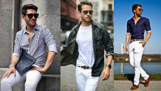 полосатая рубашка белые штаны белые штаны и футболка куртка джинсовка синяя рубашка