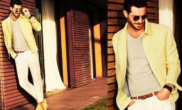 светло-желтый пиджак белые брюки