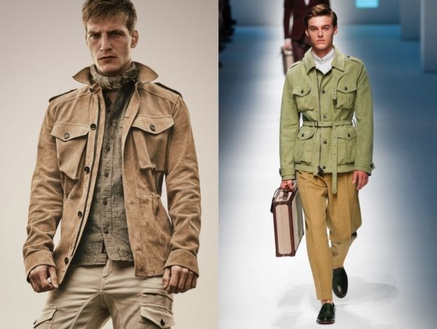 куртка сафари коричневая зеленая под желтые штаны
