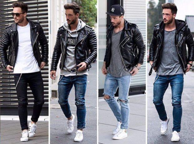 кожаные куртки кэжуал по джинсы
