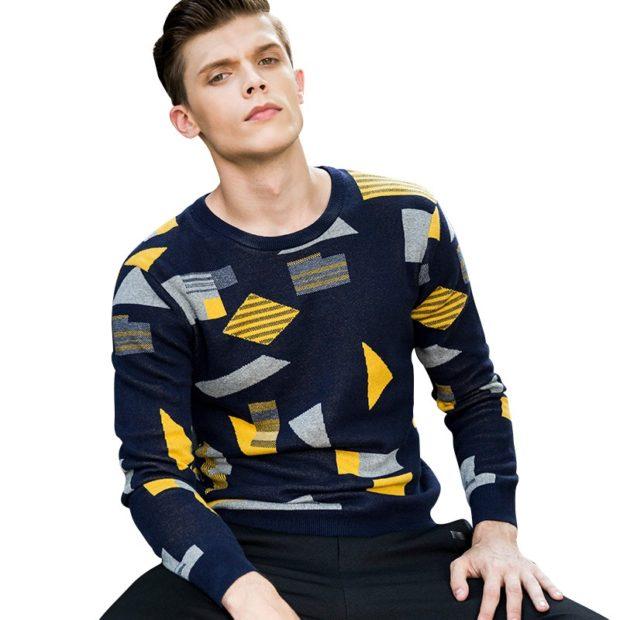 свитер с геометрическими принтами
