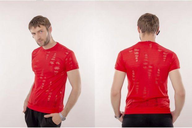 футболка красная по фигуре