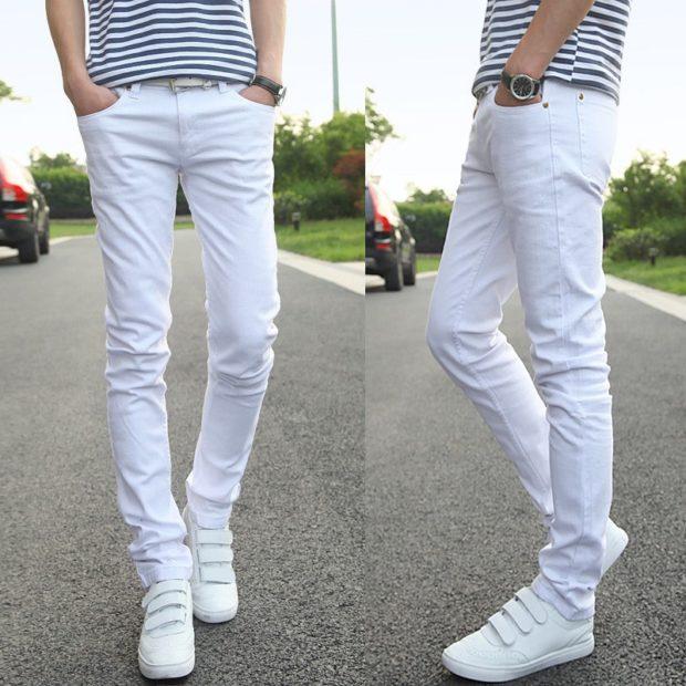 белые штаны под полосатую майку