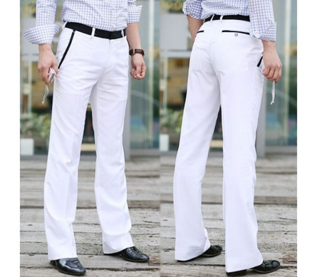 белые штаны под рубашку в клетку туфли классику