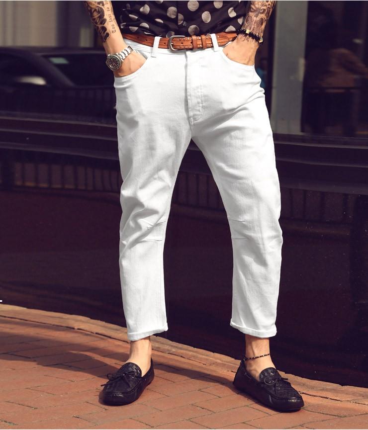 белые штаны  короткие под мокасины