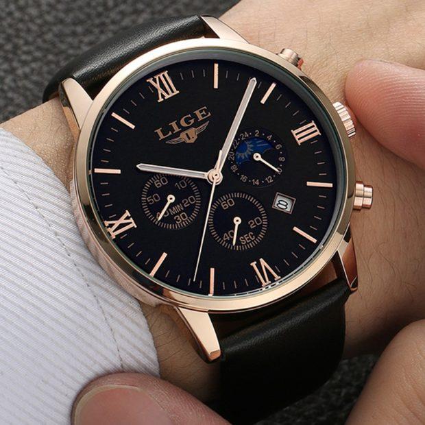 часы мужские черные с золотом ремень кожаный