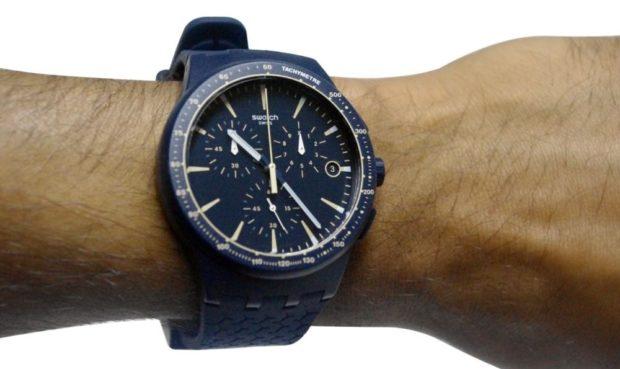 каучуковый ремень синие часы