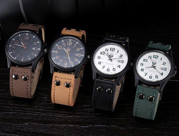 классические часы ремни кожаные коричневый беж черный зеленый