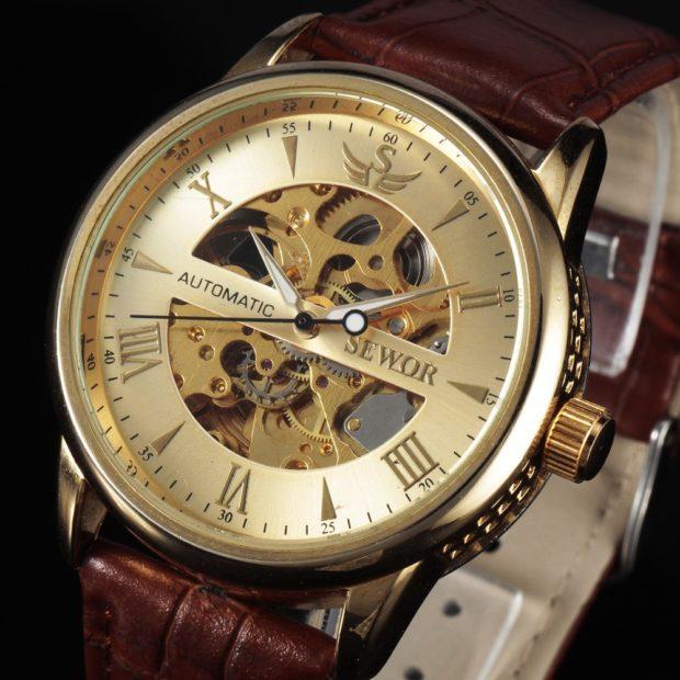часы с оригинальным циферблатом золотые ремень кожа коричневая
