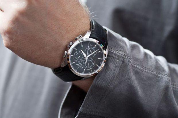 часы классика кожаный ремень черный