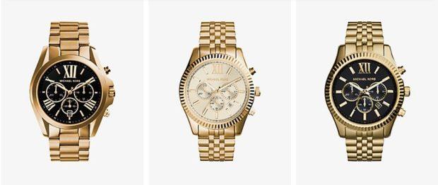 золотые часы с железным ремнем с несколькими циферблатами