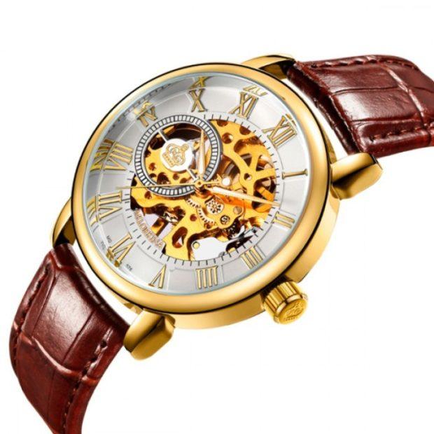 часы с оригинальным дизайном циферблата кожаный ремень