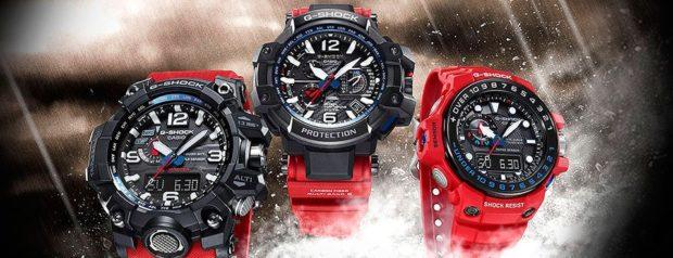 спортивные часы на красном ремне каучуковом
