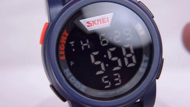 часы синие с серым электронным спортивные