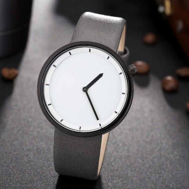 часы минимализм белый циферблат серый ремень
