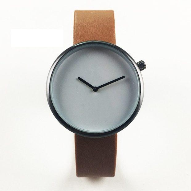 кожаный ремень часы круглые минимализм