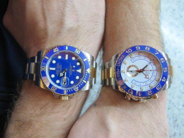 серебро с золотом синий циферблат часы bi-color