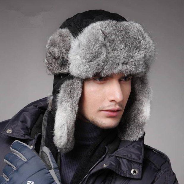 мужские головные уборы зима 2019-2020: шапка ушанка с мехом