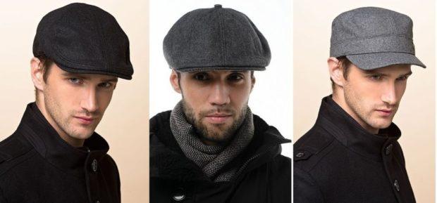 мужские головные уборы зима 2019-2020: кепки черная серые