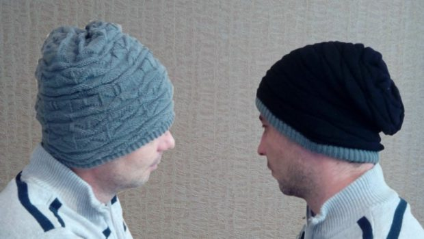 мужские головные уборы зима 2019-2020: шапки вязанные серая черная