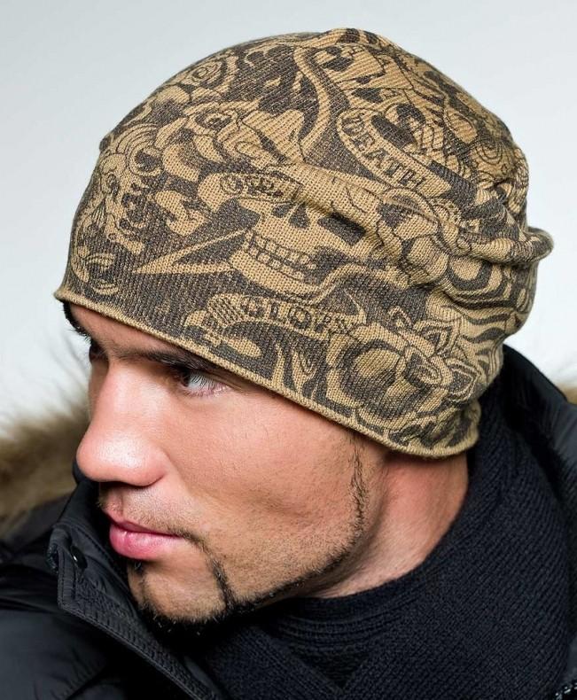 мужские головные уборы зима 2019-2020: шапка трикотажная коричневая с узором