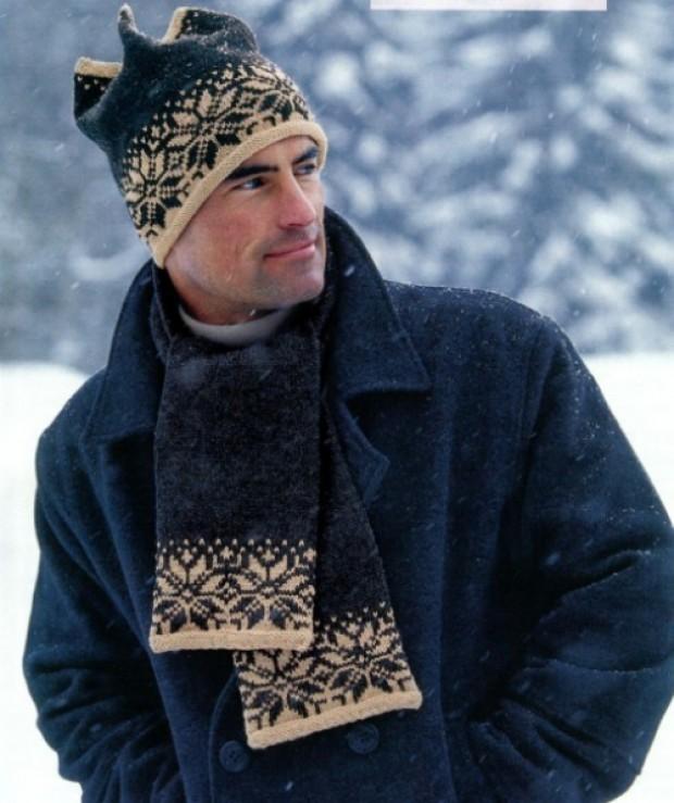 мужские головные уборы зима 2019-2020: шапка шерстяная с узором снежинка