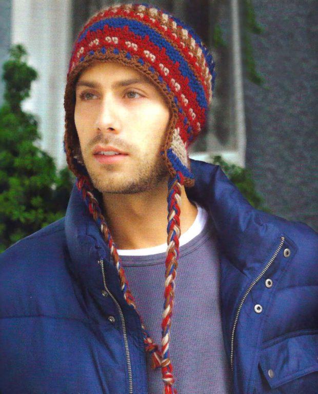 мужские головные уборы зима 2019-2020: вязанная шапка ушанка цветная