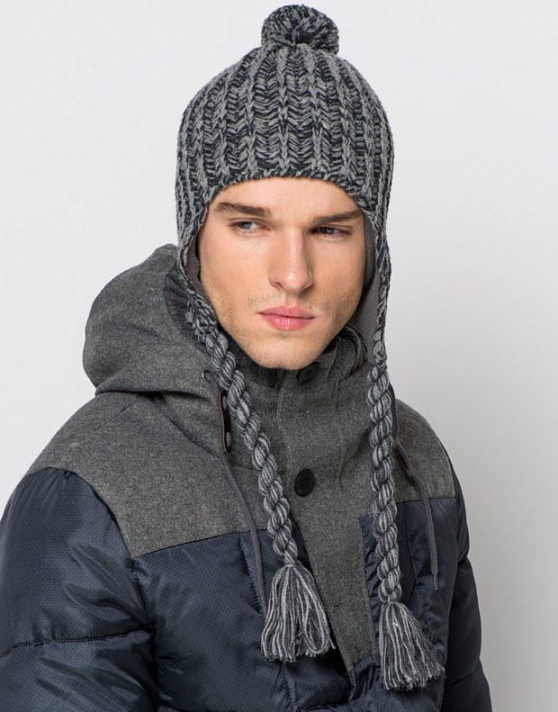 5d1d7cdd957 мужские головные уборы зима 2019-2020  вязанная шапка ушанка серая с  помпоном