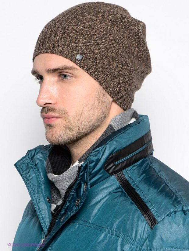 головные уборы мужские зима 2019-2020: вязанная шапка коричневая