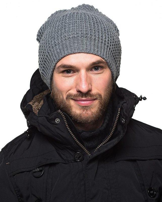 e3db52252bb головные уборы мужские зима 2019-2020  вязанная шапка серая объемная
