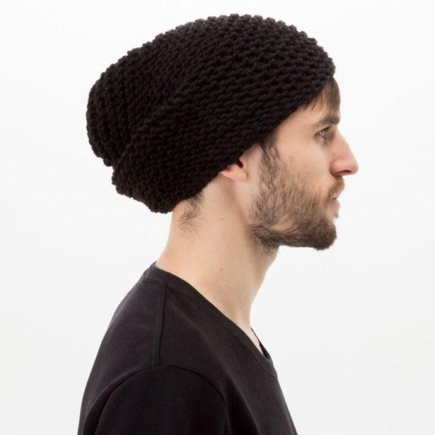 головные уборы мужские зима 2019-2020: вязанная шапка коричневая крупная вязка