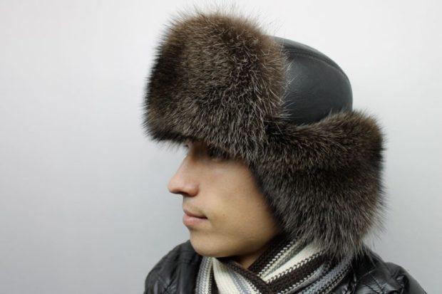 головные уборы мужские зима 2019-2020: шапка ушанка мех внутри сверху кожа