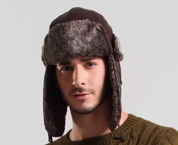 головные уборы мужские зима 2019-2020: шапка ушанка мех внутри сверху кожа коричневая