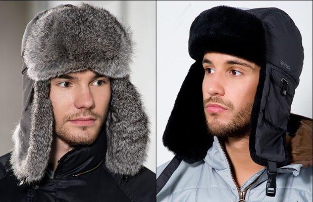 головные уборы мужские зима 2019-2020: меховая шапка ушанка верх тканевый