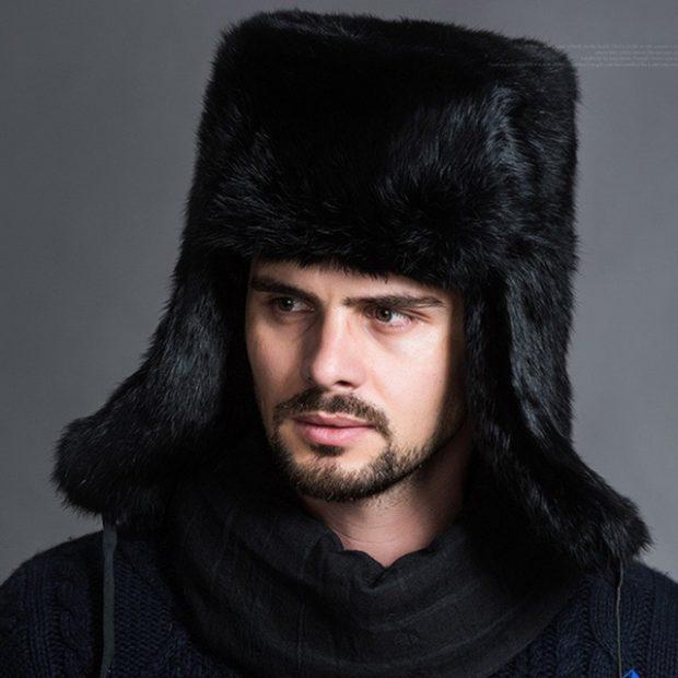 головные уборы мужские зима 2019-2020: шапка ушанка из длинного меха