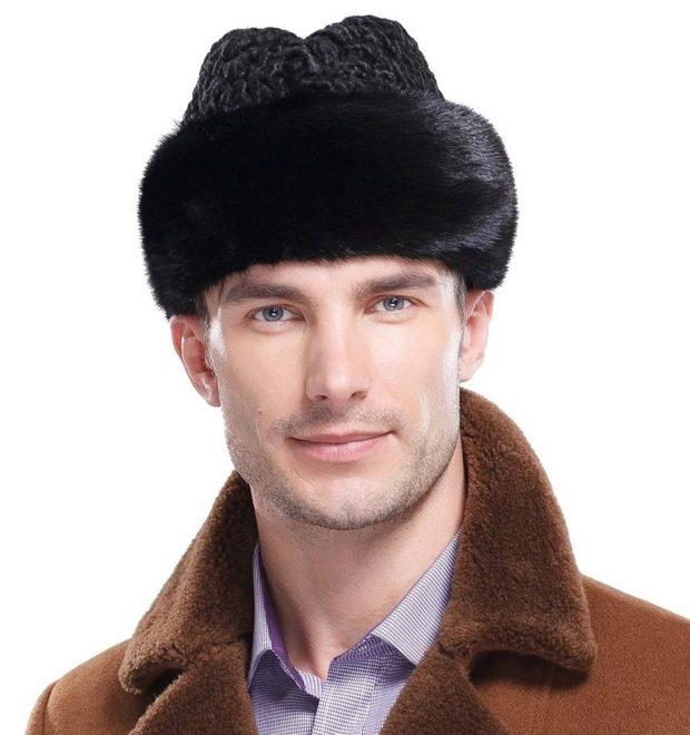 головные уборы мужские зима 2019-2020: шапка из меха черная