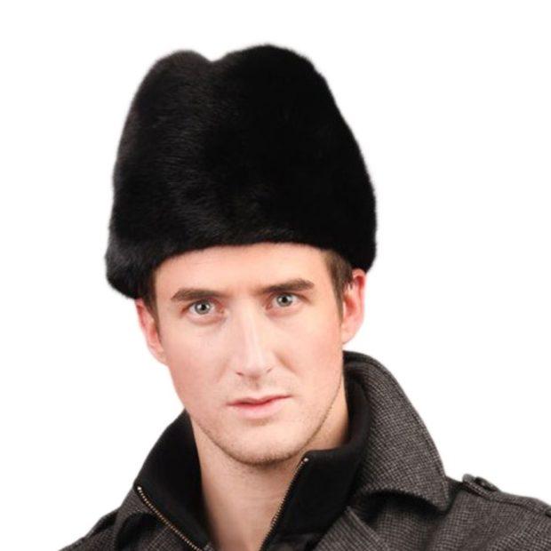 головные уборы мужские зима 2019-2020: шапка меховая черная