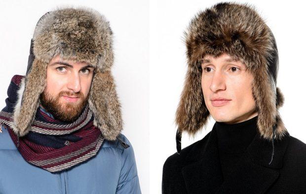 головные уборы мужские зима 2019-2020: шапки ушанки из меха верх кожа