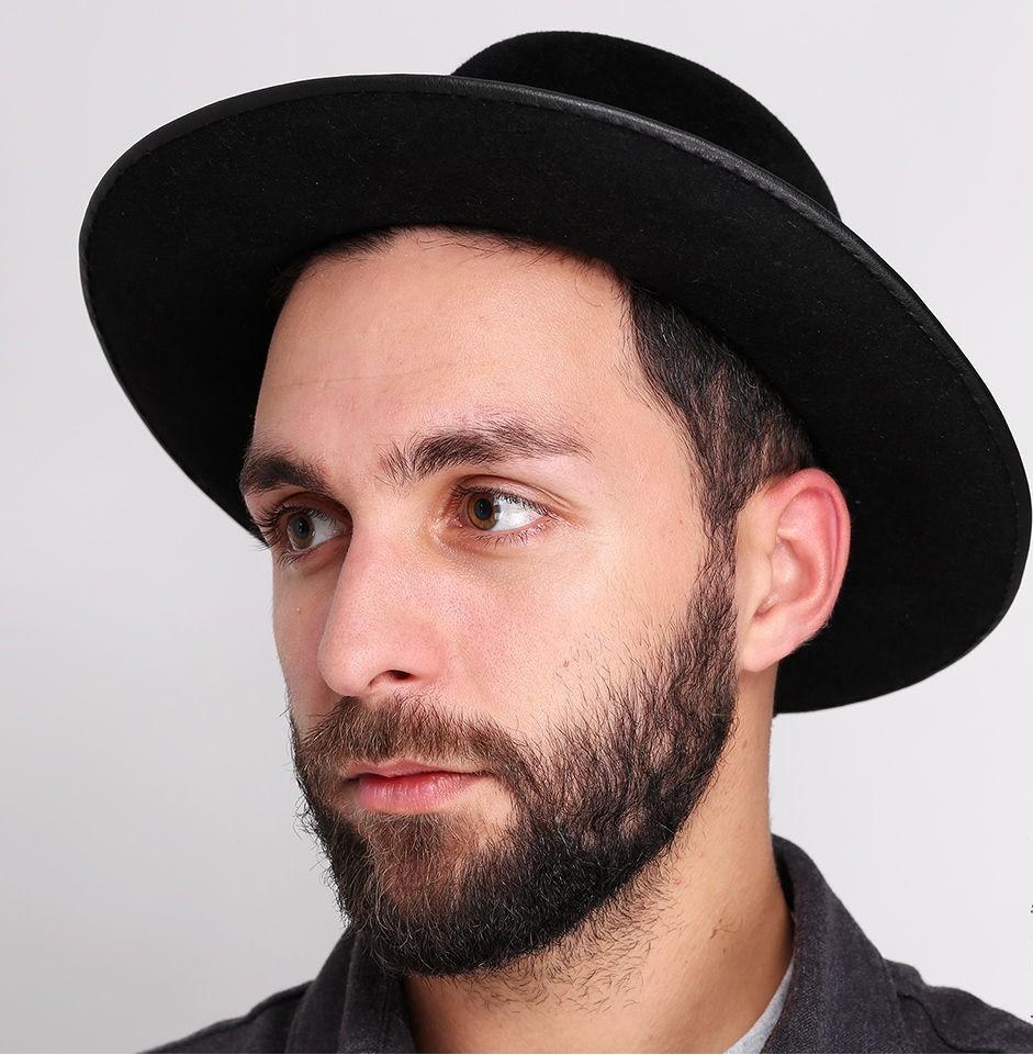 шляпа черная фетровая с полями