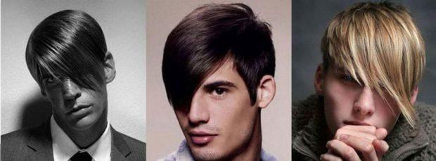мужские прически: косые длинные челки укладка прямая