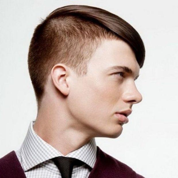 мужские прически: выбритый правый висок левая сторона на косую