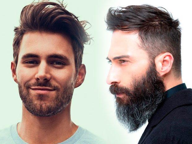 мужские модные прически: густые волосы зачесанные выбритые
