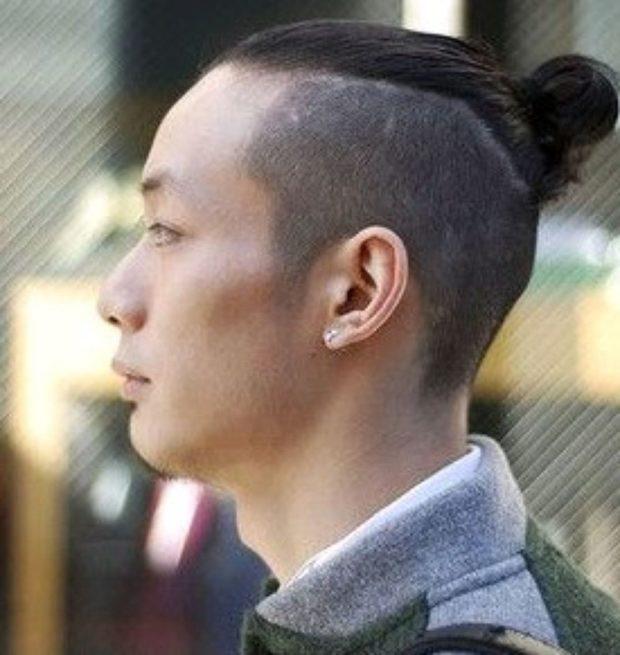 мужские модные прически: выбритые волосы небольшой хвостик