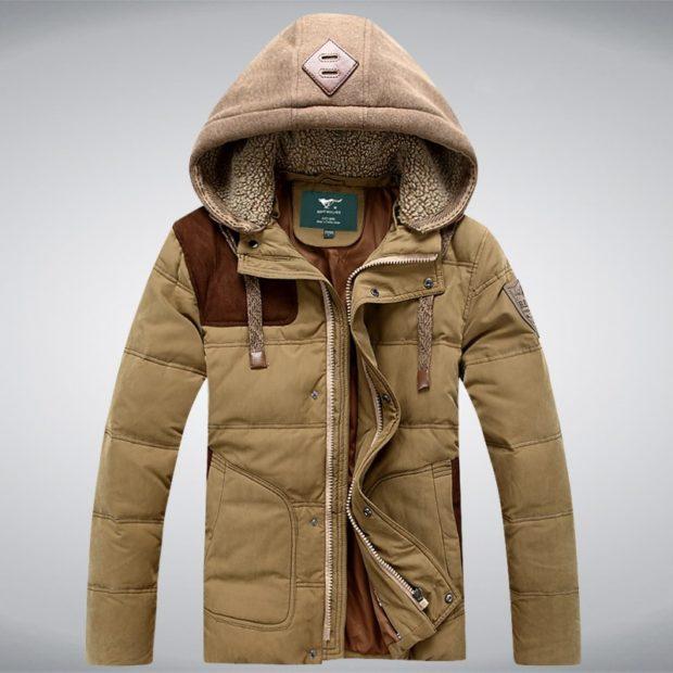 куртка зимняя бежевая со вставками коричневым капюшон тканевый