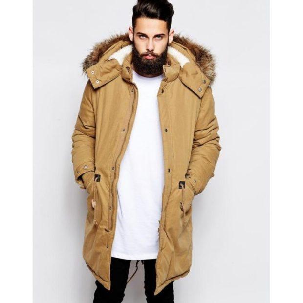 коричневая куртка парка миди