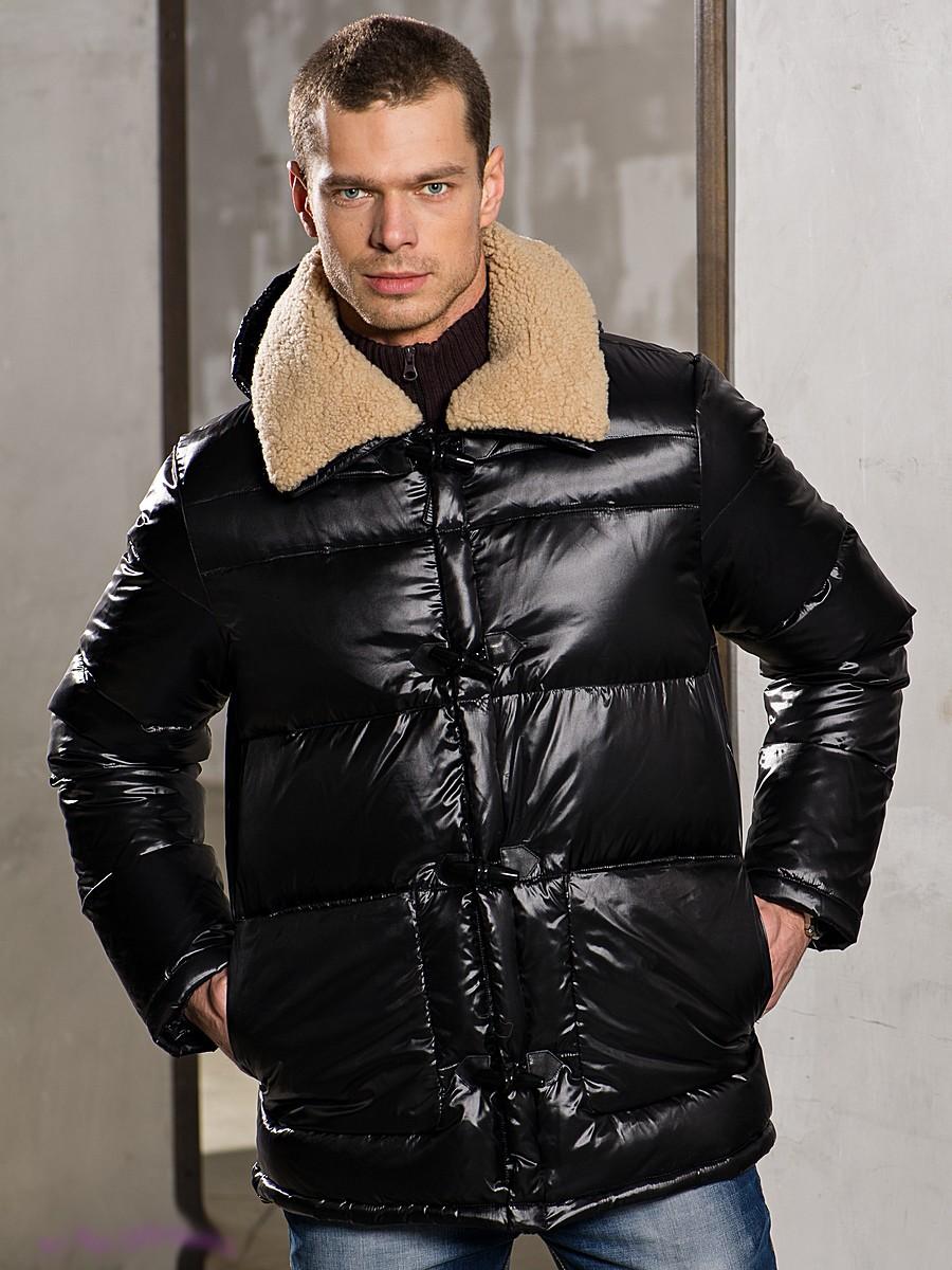 черная куртка блестящая стеганая с воротником