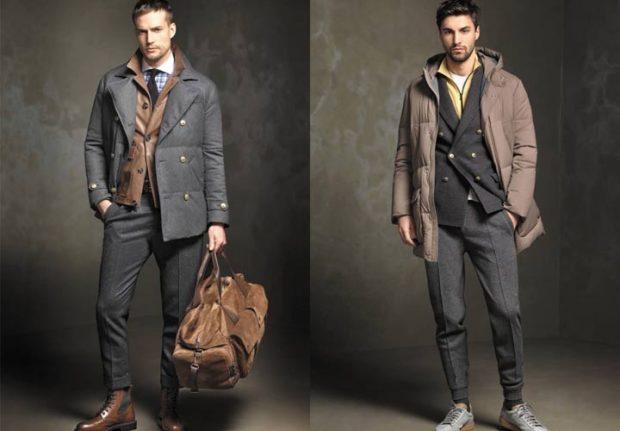куртки тканевые серая коричневая