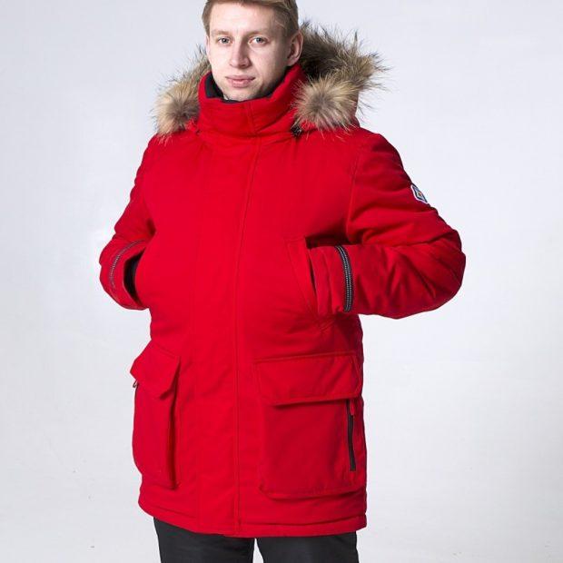 красная парка с карманами меховой капюшон